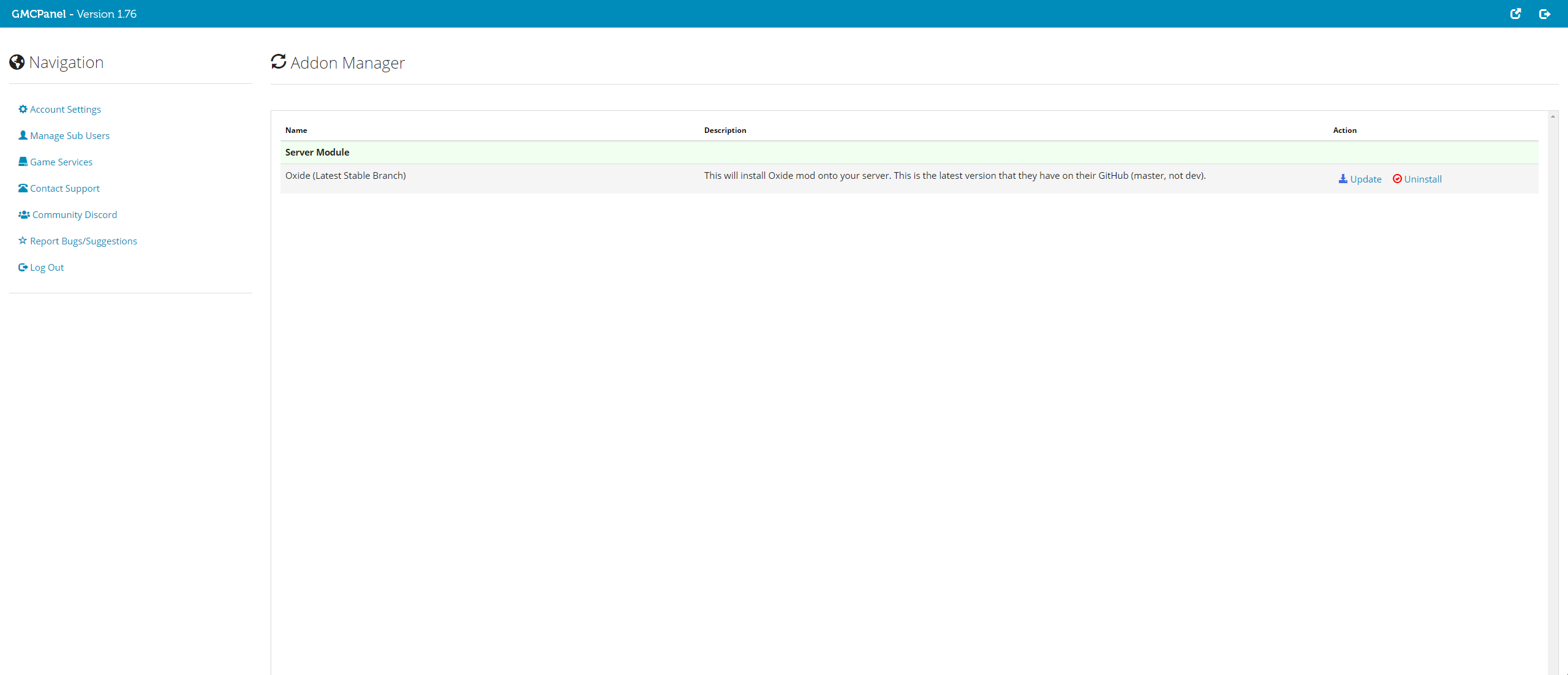 Addon Manager from GMCPanel