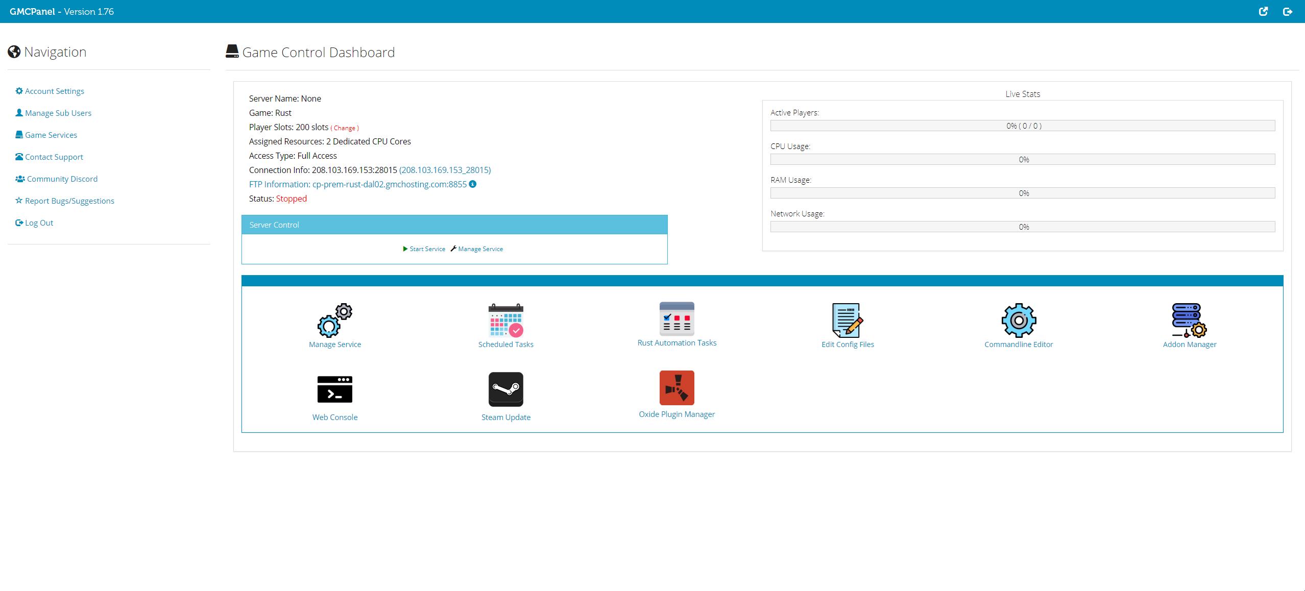GMCPanel Rust server hosting dashboard